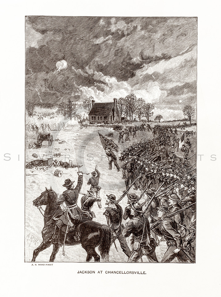 Vintage 1800s Sepia Illustration of Jackson at Chancellorsville.  The natural patina, age-toning, imperfections, and old paper antiquing of this vintage 19th century illustration are preserved in this image.
