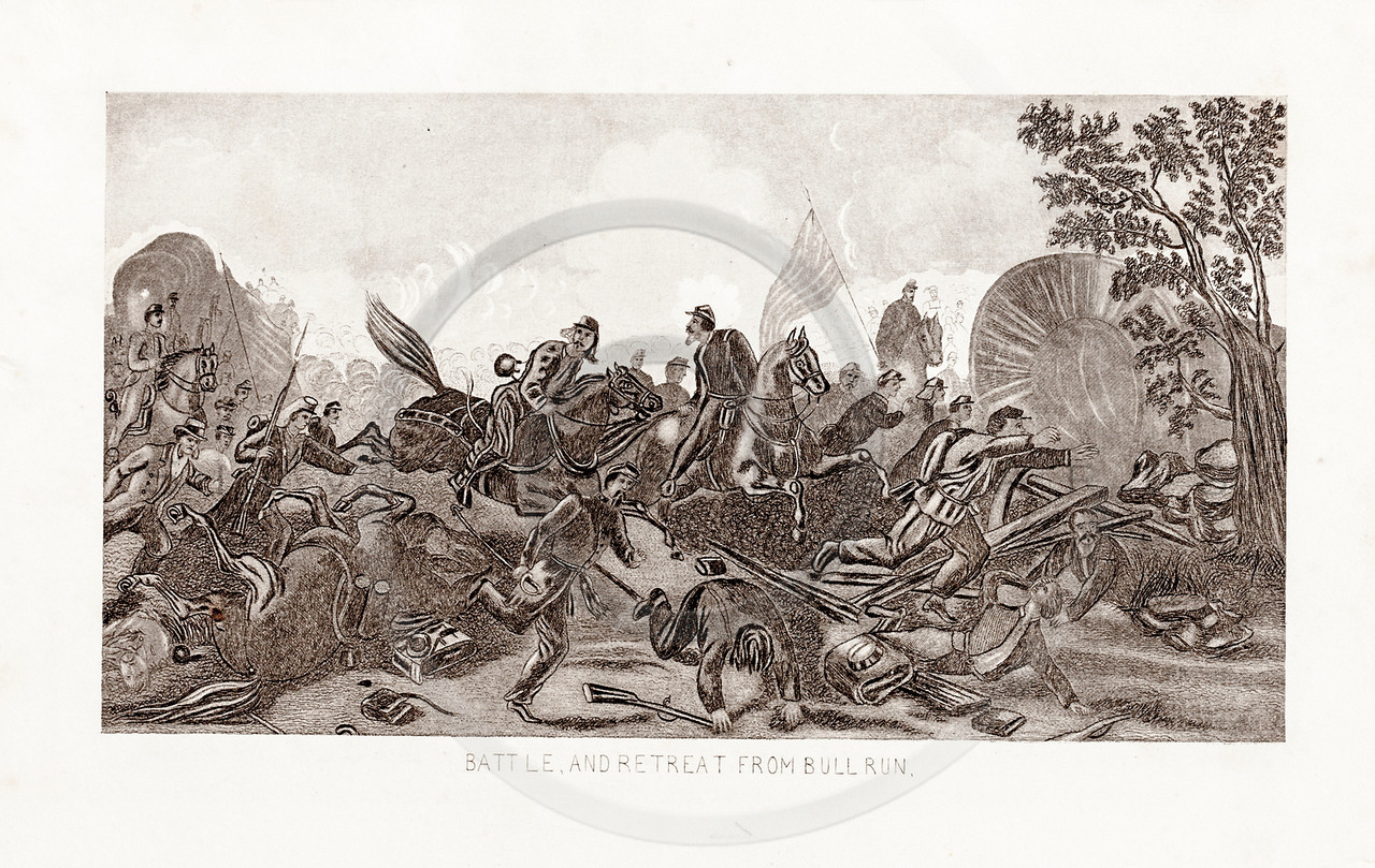 Vintage 1800s Sepia Illustration of the Battle of Bull Run.  The natural patina, age-toning, imperfections, and old paper antiquing of this vintage 19th century illustration are preserved in this image.