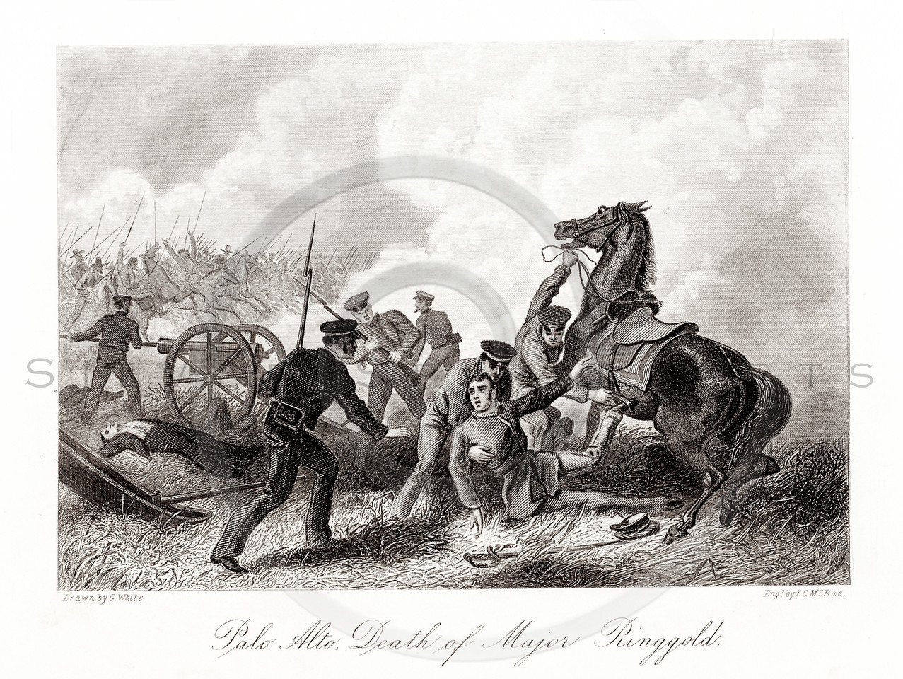 Vintage 1800s Sepia Illustration of the Death of Major Ringgold.  The natural patina, age-toning, imperfections, and old paper antiquing of this vintage 19th century illustration are preserved in this image.