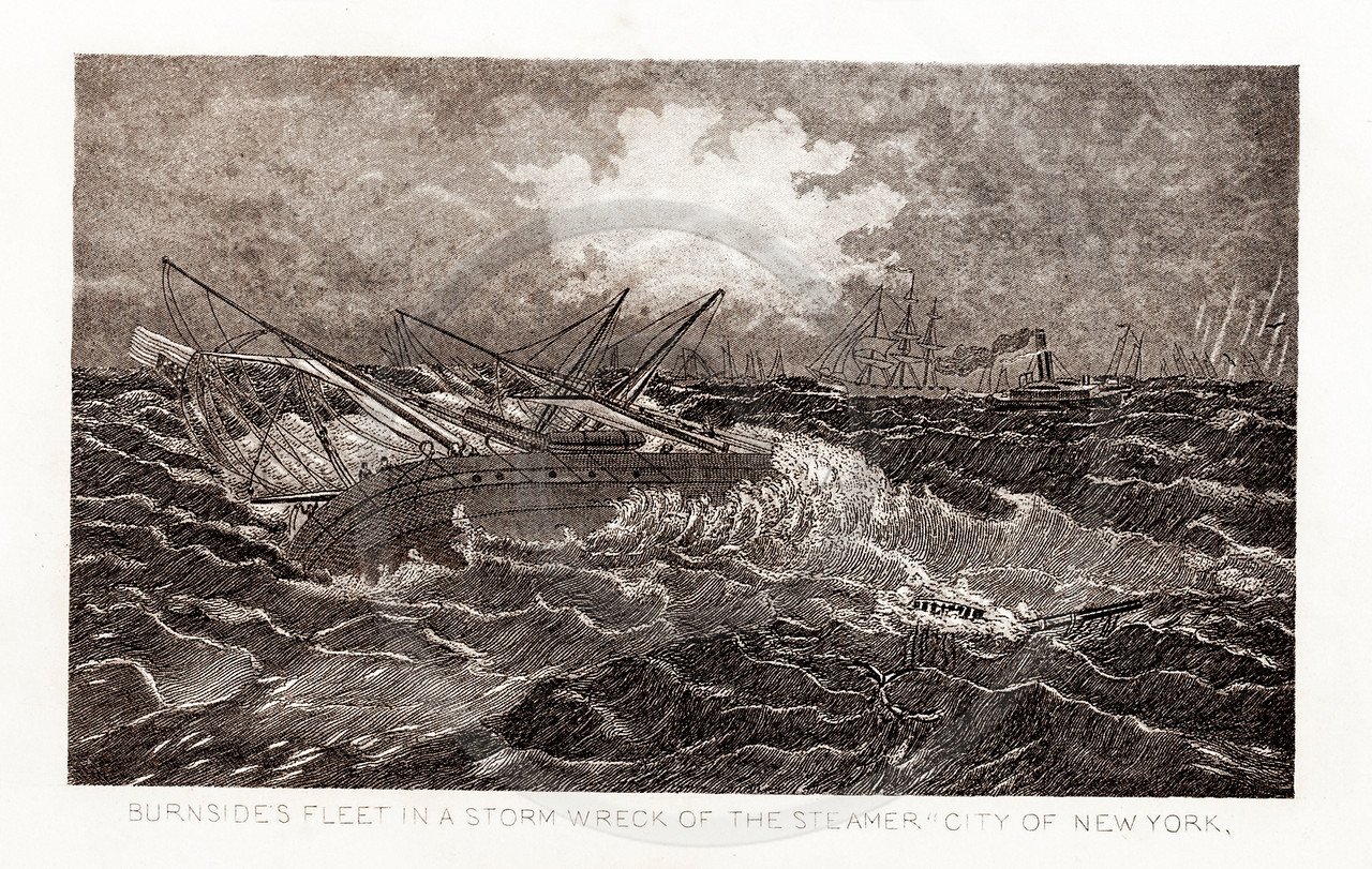 Vintage 1800s Sepia Illustration of Burnside's Fleet Ship Wreck.  The natural patina, age-toning, imperfections, and old paper antiquing of this vintage 19th century illustration are preserved in this image.
