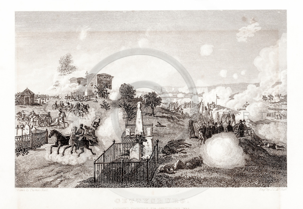 Vintage 1800s Sepia Illustration of the Battle of Gettysburg.  The natural patina, age-toning, imperfections, and old paper antiquing of this vintage 19th century illustration are preserved in this image.