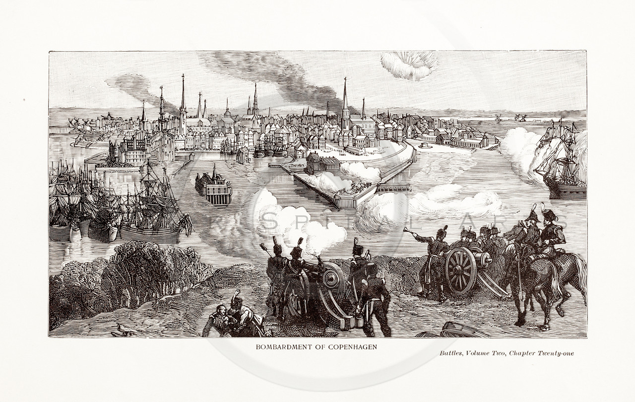 Vintage 1800s Sepia Illustration of the Bombardment of Copenhagen.  The natural patina, age-toning, imperfections, and old paper antiquing of this vintage 19th century illustration are preserved in this image.