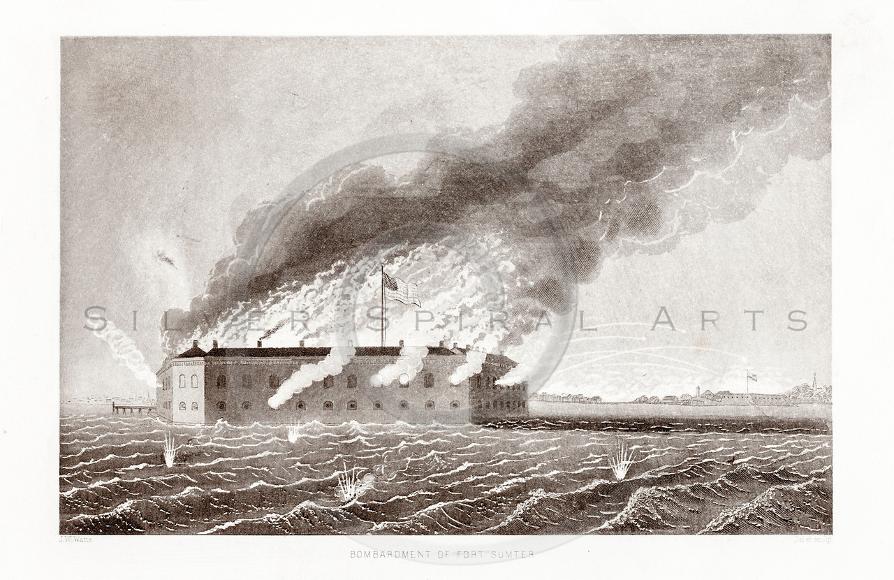 Vintage 1800s Sepia Illustration of Fort Sumter.  The natural patina, age-toning, imperfections, and old paper antiquing of this vintage 19th century illustration are preserved in this image.