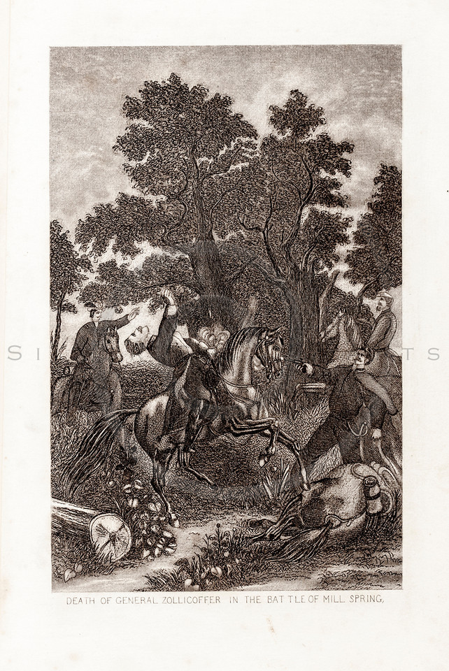 Vintage 1800s Sepia Illustration of the Battle of Mill Spring.  The natural patina, age-toning, imperfections, and old paper antiquing of this vintage 19th century illustration are preserved in this image.