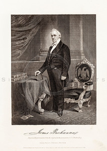 Vintage 1800s Black & White Illustration of James Buchanan Portrait - NATIONAL HISTORY OF THE WAR FOR THE UNION by E.A. Duyckinck.