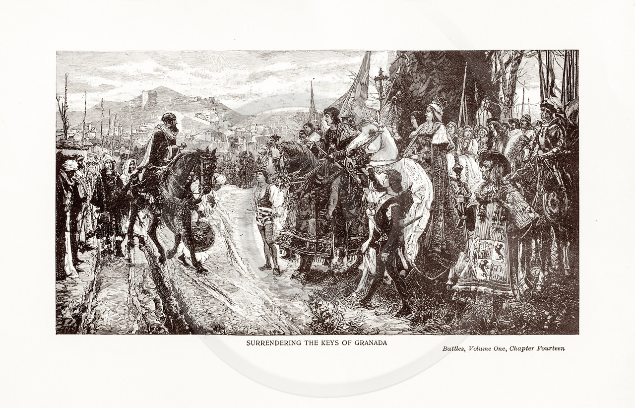 Vintage 1800s Sepia Illustration of the Surrender of Granada.  The natural patina, age-toning, imperfections, and old paper antiquing of this vintage 19th century illustration are preserved in this image.