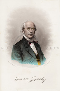 Vintage 1800s Color Illustration of Horace Greeley - HISTORY OF THE CIVIL WAR by John Abott.