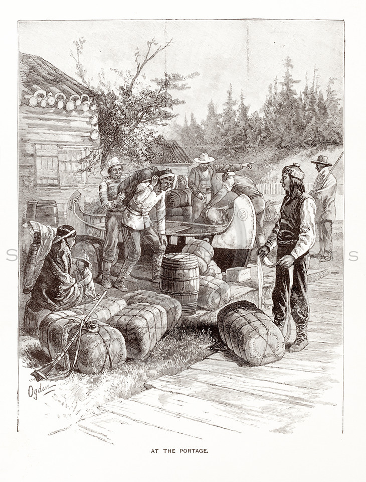 Vintage 1800s Sepia Illustration of a Portage.  The natural patina, age-toning, imperfections, and old paper antiquing of this vintage 19th century illustration are preserved in this image.