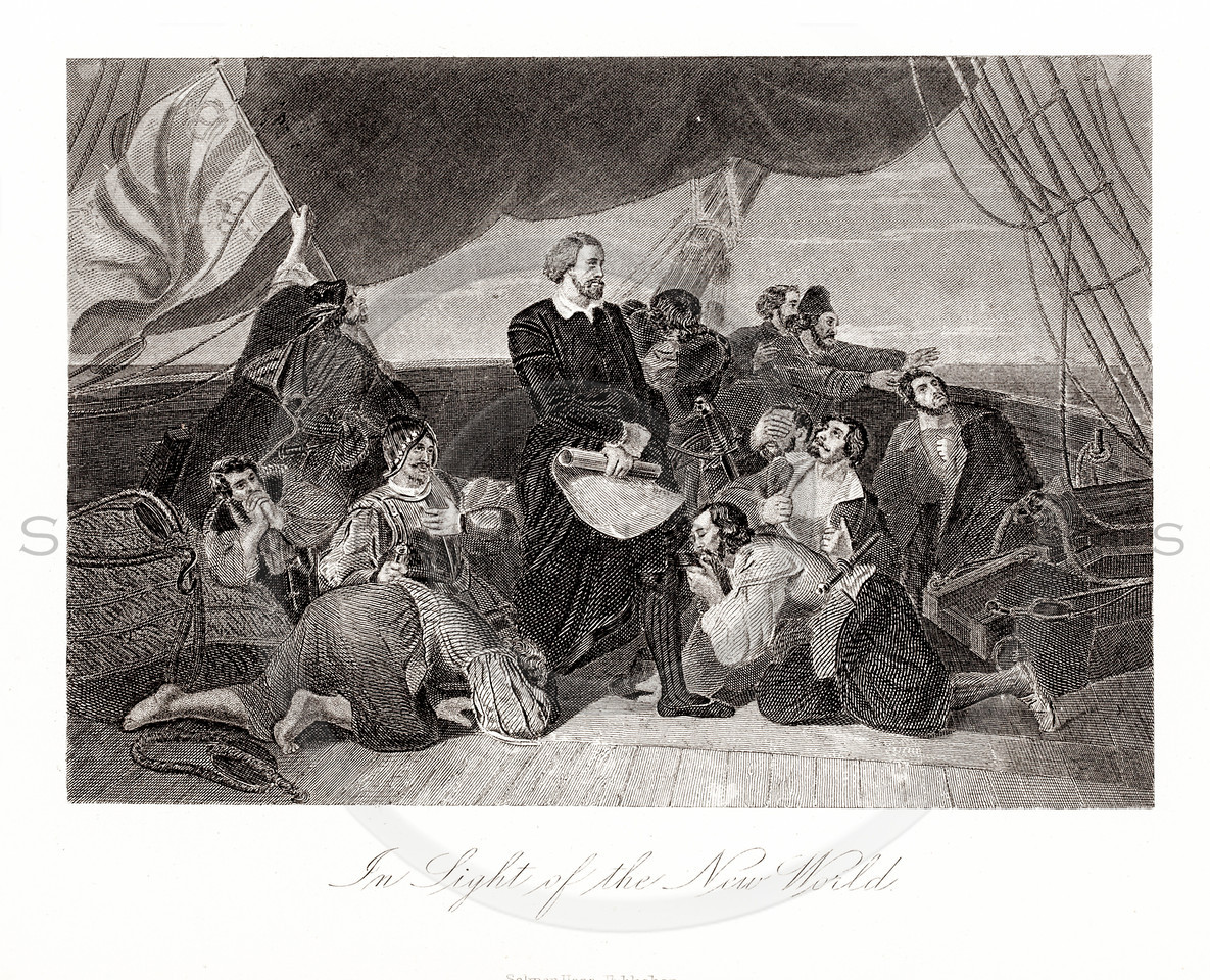 Vintage 1800s Sepia Illustration of Pilgrims Sailing to the New World.  The natural patina, age-toning, imperfections, and old paper antiquing of this vintage 19th century illustration are preserved in this image.