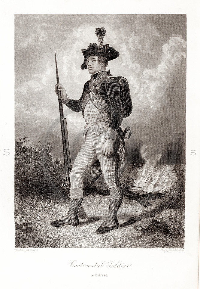 Vintage 1800s Sepia Illustration of Continental Soldier.  The natural patina, age-toning, imperfections, and old paper antiquing of this vintage 19th century illustration are preserved in this image.