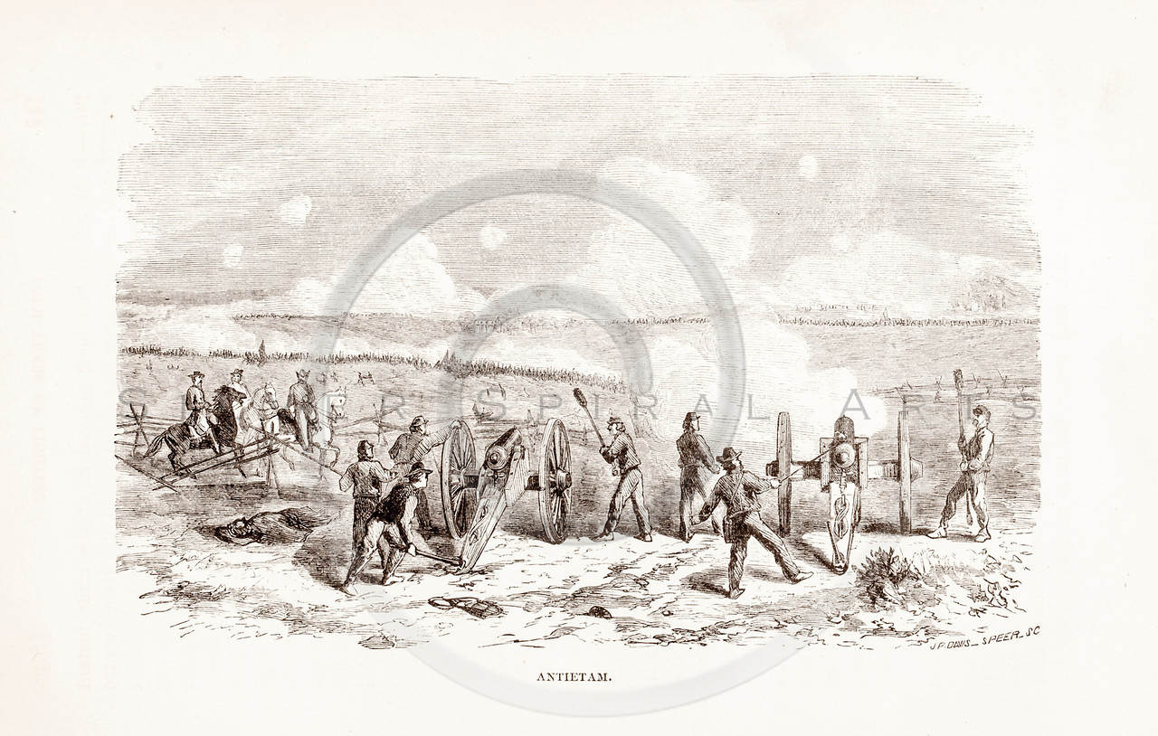 Vintage 1800s Sepia Illustration of the Battle of Antietam.  The natural patina, age-toning, imperfections, and old paper antiquing of this vintage 19th century illustration are preserved in this image.