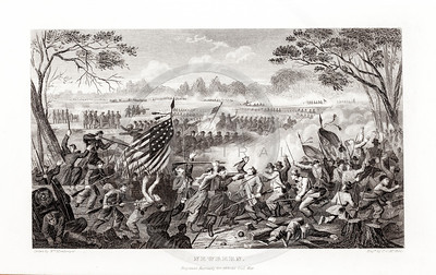 Vintage 1800s Steel Engraving Print Illustration of the Battle of Newbern from THE HISTORY OF THE CIVIL WAR IN AMERICA by John Abott.  The natural patina, age-toning, imperfections, and old paper antiquing of this vintage 19th century illustration are preserved in this image.