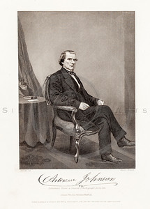 Vintage 1800s Black & White Illustration of Andrew Johnson Portrait - NATIONAL HISTORY OF THE WAR FOR THE UNION by E.A. Duyckinck.