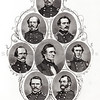 Vintage 1800s Sepia Steel Engraving Illustration of Confederacy Officers from THE GREAT REBELLION by J.T. Headley.  The natural patina, age-toning, imperfections, and old paper antiquing of this vintage 19th century illustration are preserved in this image.