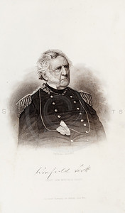Vintage 1800s Sepia Illustration of Civil War Portrait of Winfield Scott - HISTORY OF THE CIVIL WAR by John Abott.