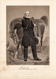 Vintage 1800s Black & White Illustration of Civil War Portrait - NATIONAL HISTORY OF THE WAR FOR THE UNION by E.A. Duyckinck.
