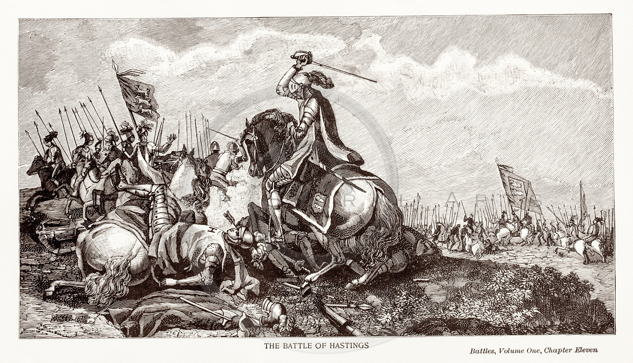 Vintage 1800s Sepia Illustration of The Battle of Hastings.  The natural patina, age-toning, imperfections, and old paper antiquing of this vintage 19th century illustration are preserved in this image.