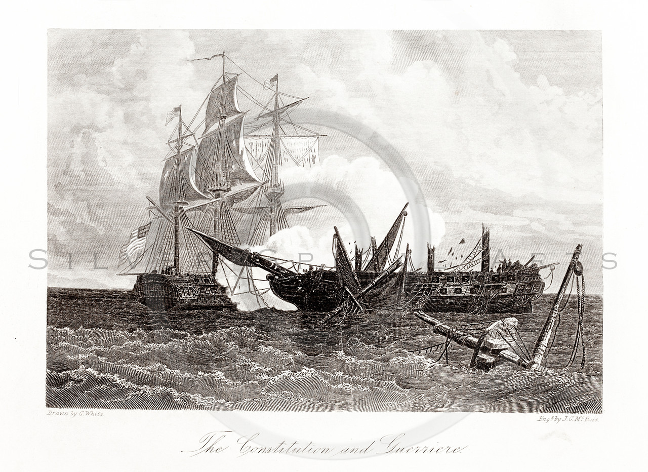 Vintage 1800s Sepia Illustration of Naval Battle.  The natural patina, age-toning, imperfections, and old paper antiquing of this vintage 19th century illustration are preserved in this image.