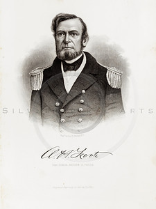 Vintage 1800s Sepia Illustration of Civil War Portrait of Admiral Andrew H. Foote - HISTORY OF THE CIVIL WAR by John Abott.