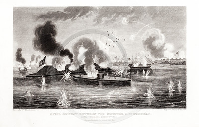 Vintage 1800s Steel Engraving Print Illustration of Naval Conflict Between the Monitor and the Merrimac from THE HISTORY OF THE CIVIL WAR IN AMERICA by John Abott.  The natural patina, age-toning, imperfections, and old paper antiquing of this vintage 19th century illustration are preserved in this image.