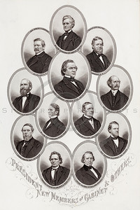 Vintage 1800s Sepia Illustration of Civil War Portraits of the President and New Members of the Cabinet - HISTORY OF THE CIVIL WAR by John Abott.