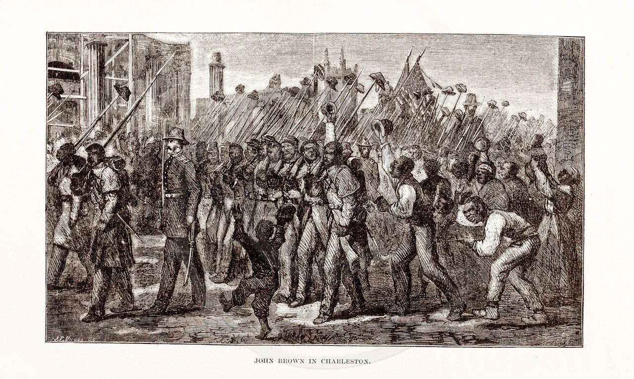 Vintage 1800s Sepia Illustration of John Brown in Charleston.  The natural patina, age-toning, imperfections, and old paper antiquing of this vintage 19th century illustration are preserved in this image.