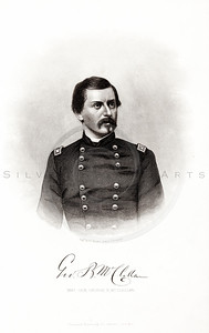 Vintage 1800s Steel Engraving Print Illustration of George B. mcclellan Portrait from THE HISTORY OF THE CIVIL WAR IN AMERICA by John Abott.  The natural patina, age-toning, imperfections, and old paper antiquing of this vintage 19th century illustration are preserved in this image.