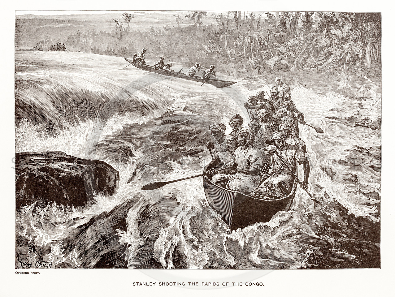 Vintage 1800s Sepia Illustration of the Rapids of the Congo.  The natural patina, age-toning, imperfections, and old paper antiquing of this vintage 19th century illustration are preserved in this image.