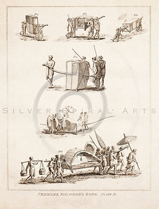 Vintage 1700s Sepia Illustration of Laborers - FRAGMENTS OF THE HOLY SCRIPTURES by Calmet.