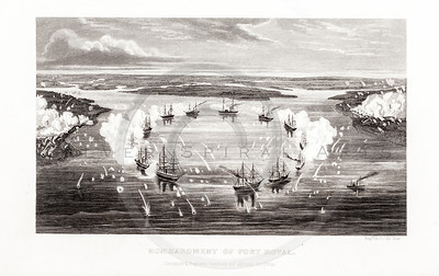 Vintage 1800s Steel Engraving Print Illustration of the Bombardment of Port Royal from THE HISTORY OF THE CIVIL WAR IN AMERICA by John Abott.  The natural patina, age-toning, imperfections, and old paper antiquing of this vintage 19th century illustration are preserved in this image.