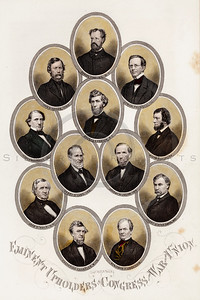 Vintage 1800s Color Illustration of Civil War Portraits of Members of Congress - HISTORY OF THE CIVIL WAR by John Abott.