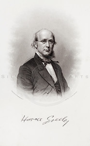 Vintage 1800s Sepia Illustration of Civil War Portrait of Horace Greeley - HISTORY OF THE CIVIL WAR by John Abott.