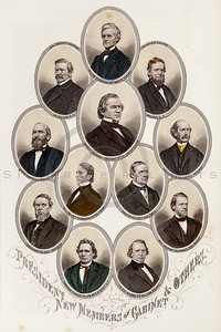 Vintage 1800s Color Illustration of Civil War Portraits of the President and New Members of the Cabinet - HISTORY OF THE CIVIL WAR by John Abott.