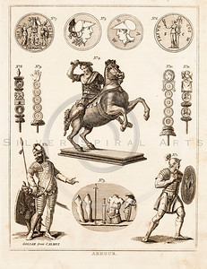Vintage 1700s Sepia Illustration of Armor - FRAGMENTS OF THE HOL