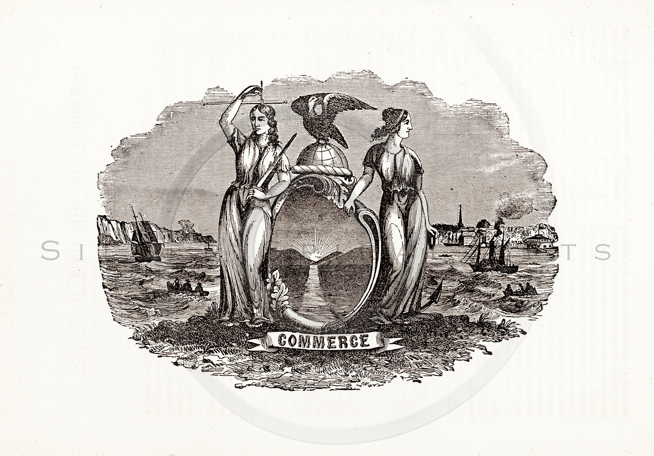 Vintage 1800s Sepia Illustration of Commerce Symbol.  The natural patina, age-toning, imperfections, and old paper antiquing of this vintage 19th century illustration are preserved in this image.