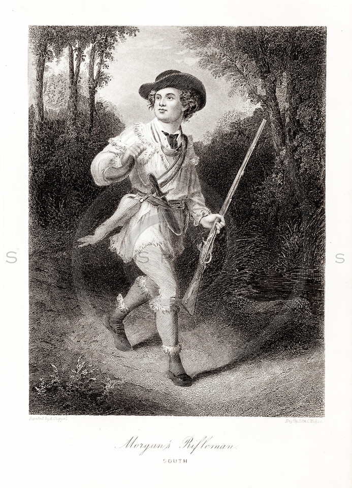Vintage 1800s Sepia Illustration of Rifleman.  The natural patina, age-toning, imperfections, and old paper antiquing of this vintage 19th century illustration are preserved in this image.