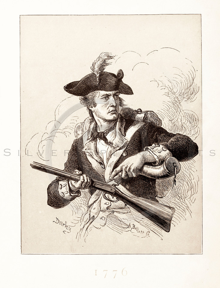 Vintage 1800s Sepia Illustration of a Soldier.  The natural patina, age-toning, imperfections, and old paper antiquing of this vintage 19th century illustration are preserved in this image.