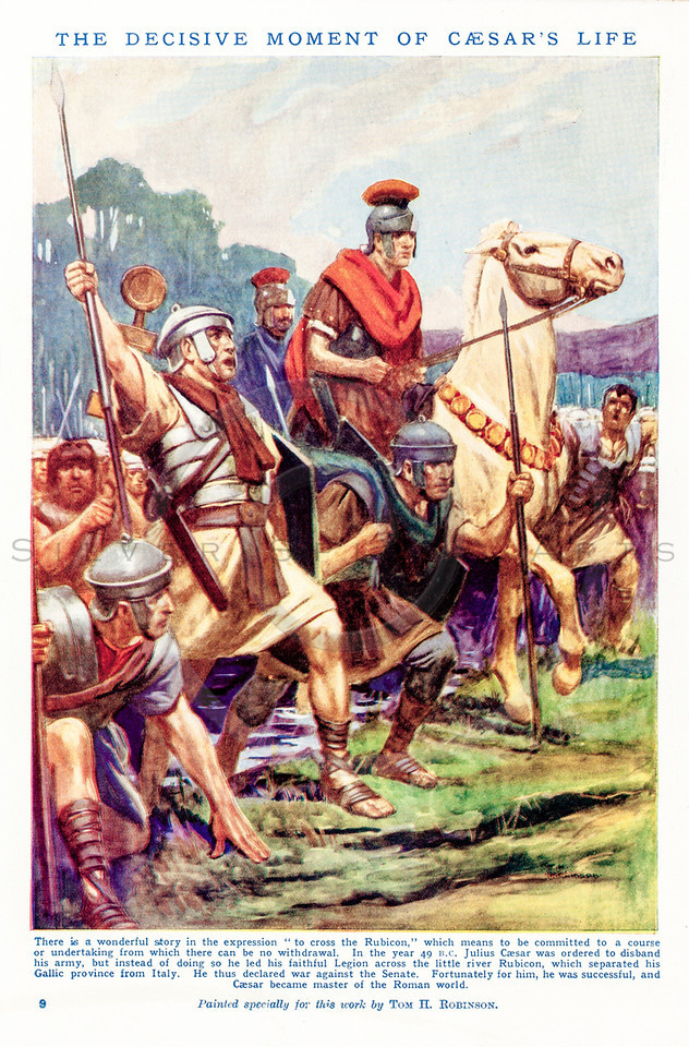 Vintage 1800s Color Illustration of Caesar.  The natural patina, age-toning, imperfections, and old paper antiquing of this vintage 19th century illustration are preserved in this image.