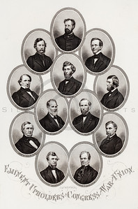 Vintage 1800s Sepia Illustration of Civil War Portraits of Congress Members - HISTORY OF THE CIVIL WAR by John Abott.