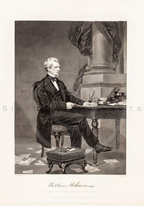 Vintage 1800s Black & White Illustration of William Seward Portrait - NATIONAL HISTORY OF THE WAR FOR THE UNION by E.A. Duyckinck.