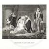 Vintage 1800s Sepia Steel Engraving Illustration of Lady Jane Grey Execution from THE NATIONAL AND DOMESTIC HISTORY OF ENGLAND by W.H.S. Aubrey.  The natural patina, age-toning, imperfections, and old paper antiquing of this vintage 19th century illustration are preserved in this image.