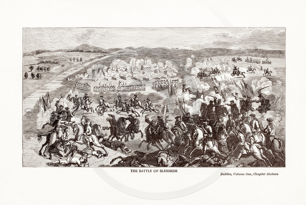 Vintage 1800s Sepia Illustration of the Battle of Blenheim.  The natural patina, age-toning, imperfections, and old paper antiquing of this vintage 19th century illustration are preserved in this image.