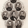Vintage 1800s Steel Engraving Sepia Illustration of Confederate Officers portraits from THE GREAT REBELLION, A HISTORY OF THE CIVIL WAR by J.T. Headley.  The natural patina, age-toning, imperfections, and old paper antiquing of this vintage 19th century illustration are preserved in this image.