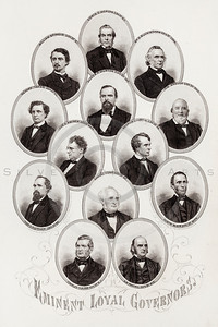 Vintage 1800s Sepia Illustration of Civil War Portraits of Governors - HISTORY OF THE CIVIL WAR by John Abott.