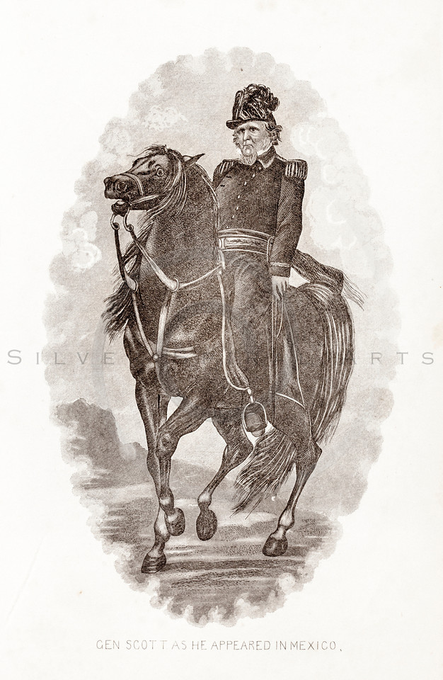 Vintage 1800s Sepia Illustration of General Scott.  The natural patina, age-toning, imperfections, and old paper antiquing of this vintage 19th century illustration are preserved in this image.