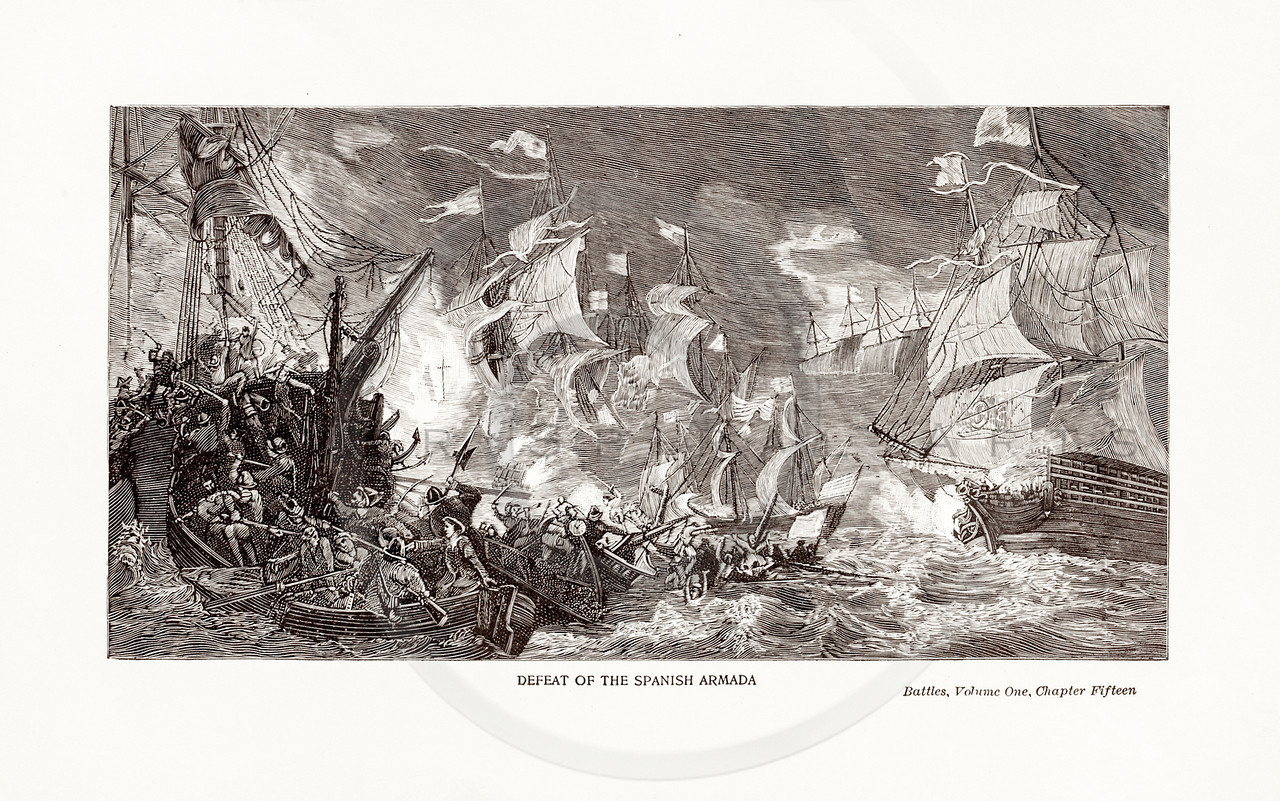 Vintage 1800s Sepia Illustration of the Defeat of the Spanish Armada.  The natural patina, age-toning, imperfections, and old paper antiquing of this vintage 19th century illustration are preserved in this image.