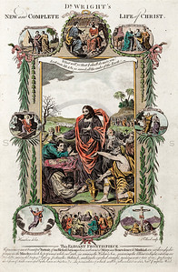 Vintage 1700s Color Illustration of Biblical Men with Decorative Frame from DR. WRIGHT'S NEW AND COMPLETE LIFE OF CHRIST by Birdsall.  The natural patina, age-toning, imperfections, and old paper antiquing of this vintage 18th century illustration are preserved in this image.