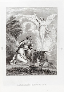Vintage 1800s Engraving Illustration of Man and Woman with Angel.  The natural patina, age-toning, imperfections, and old paper antiquing of this vintage 19th century illustration are preserved in this image.