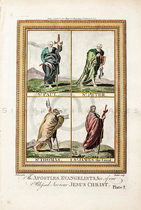 Vintage 1700s Color Illustration of the Apostles of Jesus Christ with Decorative Frame from DR. WRIGHT'S NEW AND COMPLETE LIFE OF CHRIST by Birdsall.  The natural patina, age-toning, imperfections, and old paper antiquing of this vintage 18th century illustration are preserved in this image.