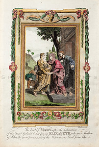 Vintage 1700s Color Illustration of the Virgin Mary with Decorat